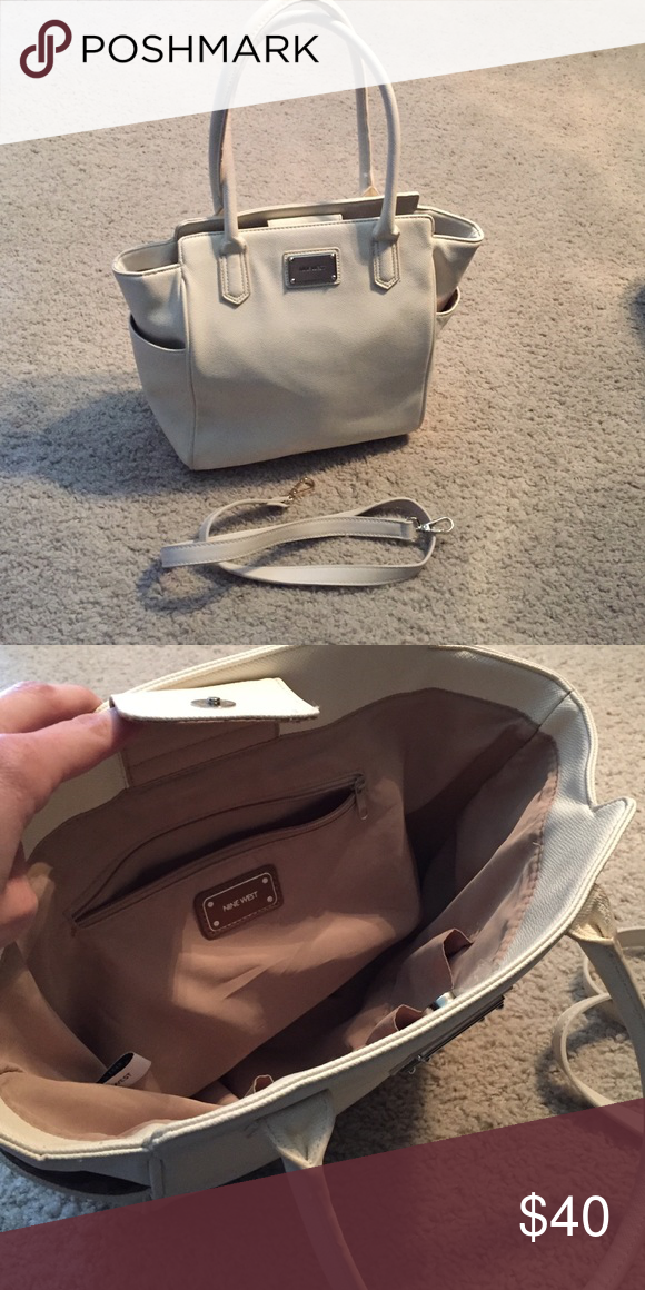 Once Used Nine West Leather Bag I Only Use This Beautiful Cream Color Shoulder It Has Just Little Unnoticeable Marks On The Handle But