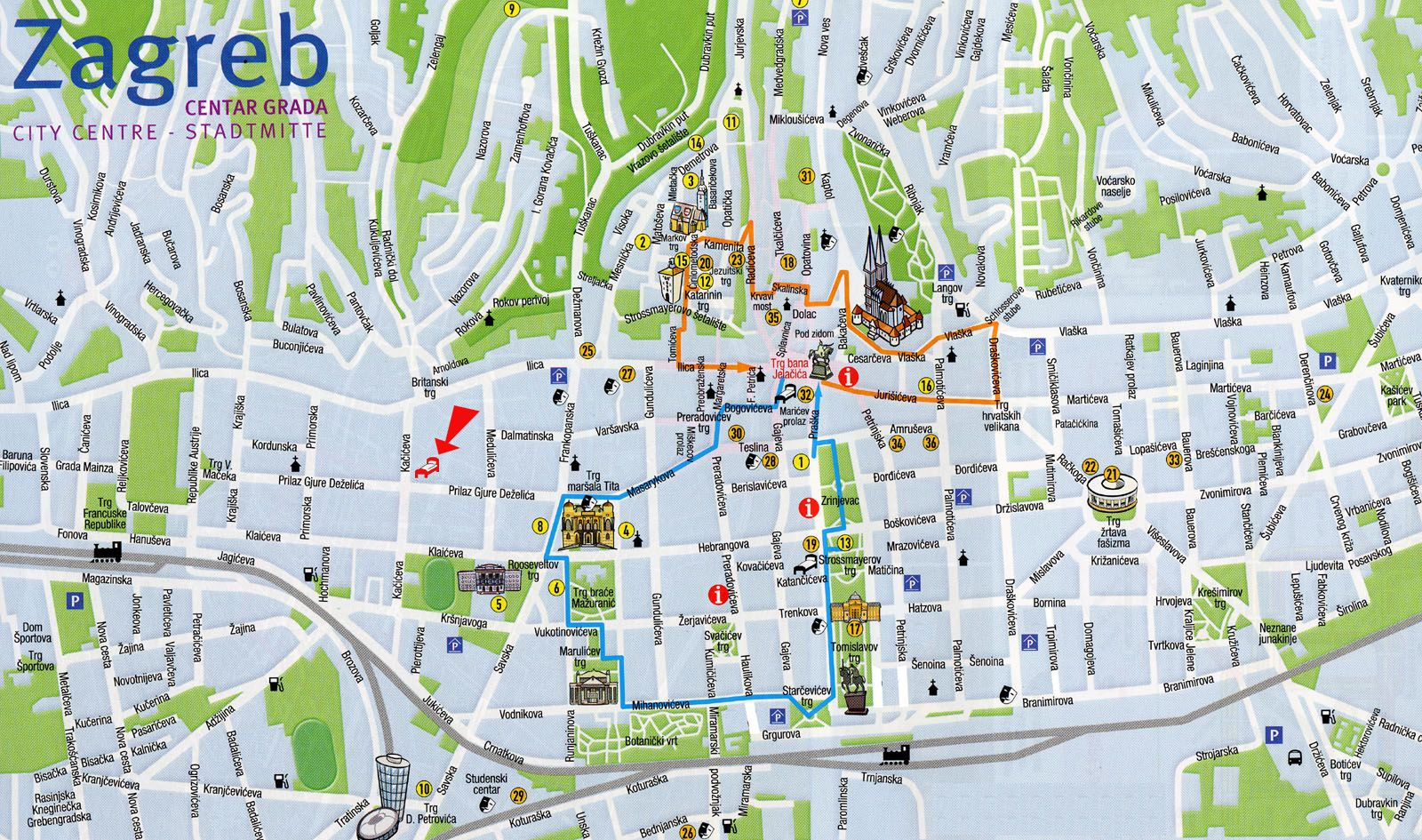 Zagreb Croatia Tourist Map Zagreb Croatia Mappery Tourist Map Zagreb Croatia Croatia Tourist