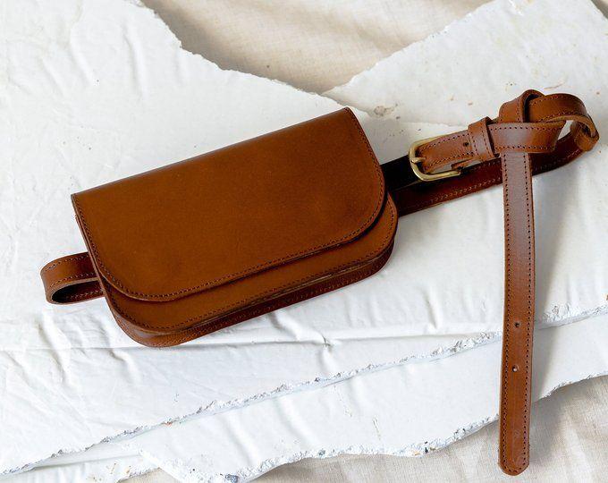 Brown Leather Belt Bag, Leather Belt Bag, Brown Belt Bag,Belt Bag, Vintage Belt Bag, Small Bag,Gifts for Her,Travel Bag,Crossbody Bag