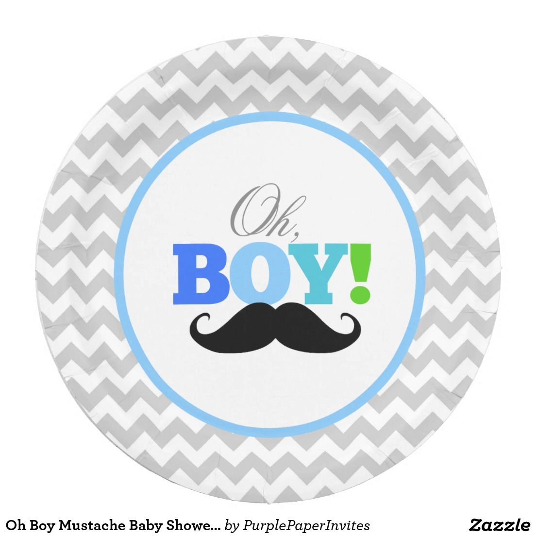Oh Boy Mustache Baby Shower Chevron Paper Plate