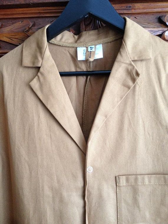6ec4ae2868bf Vintage unisex brown lab coat, painters coat, work wear , estimated size  women's M or L / men's S