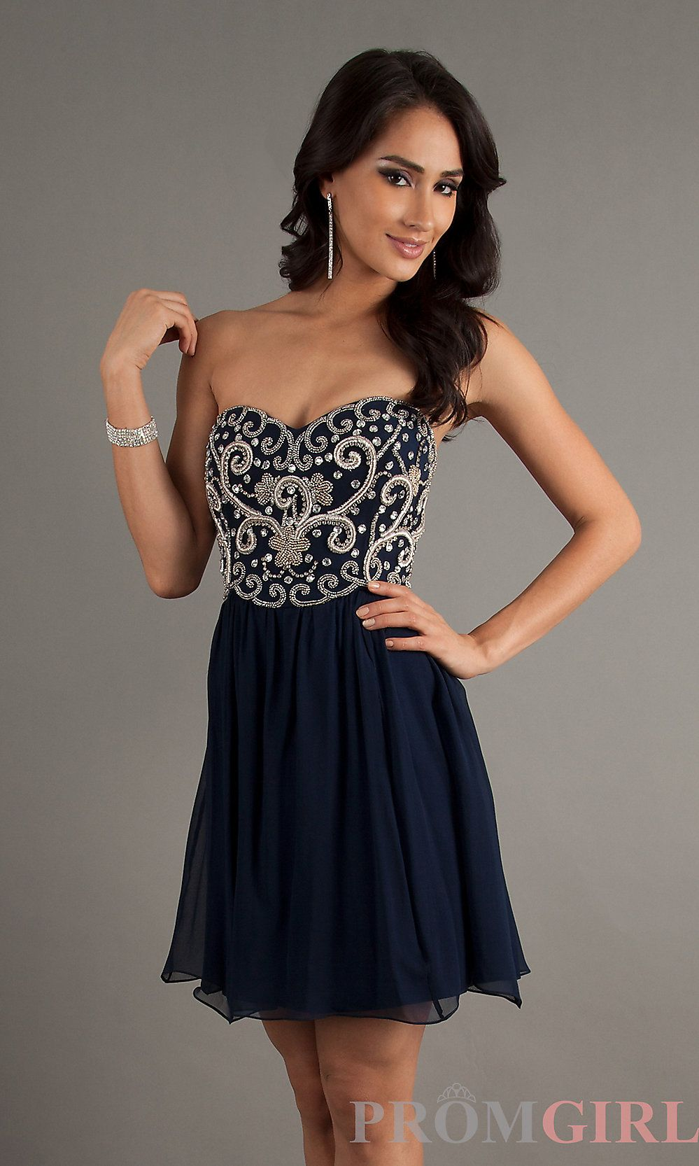 Strapless blue cocktail dress by sean fashion for women wears