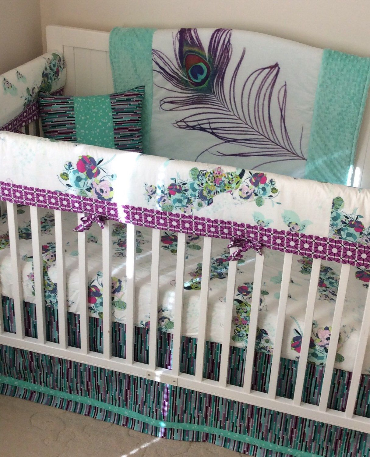 Crib bedding set gray white navy blue with by butterbeansboutique - Peacock Crib Bedding In Teal And Purple A Personal Favorite From My Etsy Shop Https
