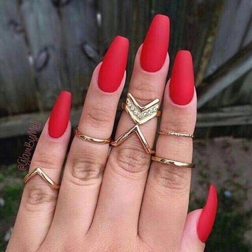 Red Matte Long Nails nails nail art red nails nail ideas nail designs matte nails nail pictures