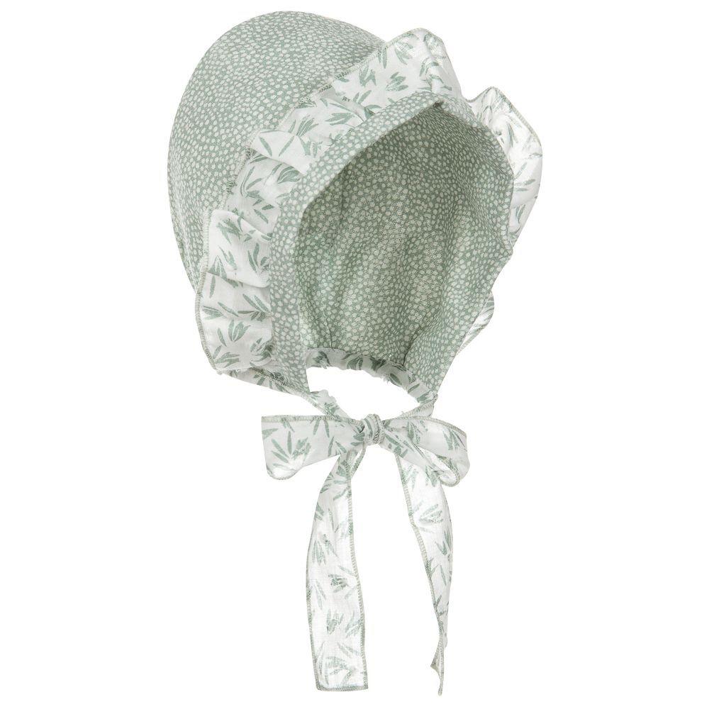 Little girls cute green floral bonnet 5b7b9e1a528f