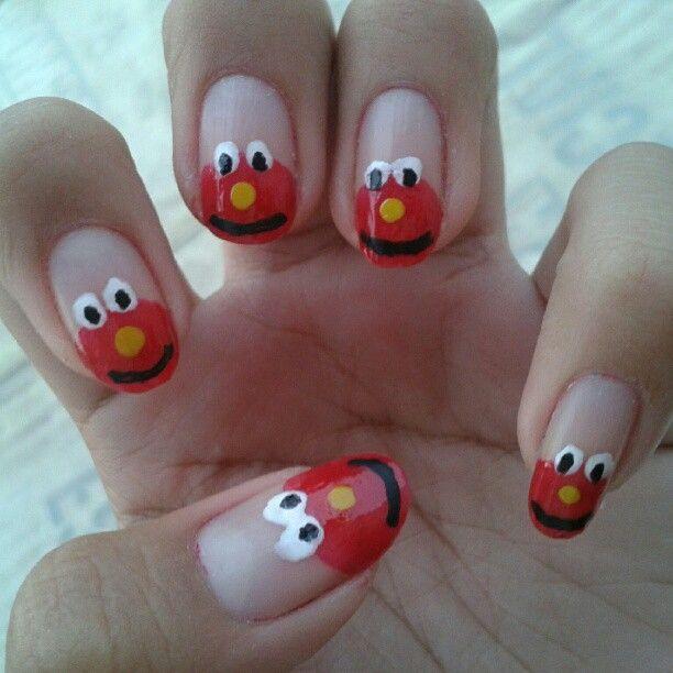 mis uñas de elmo | Nails | Pinterest | Plaza sesamo, Sesamo y Plaza