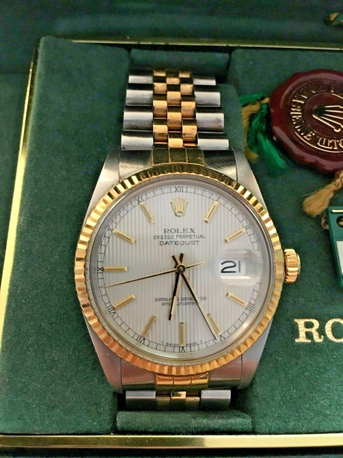 Forsale Rolex Datejust 16013 Vintage 1987 Two Tone Fluted Bezel 36mm 100 Authentic Price 2900 Used Rolex Rolex Fo Rolex Datejust Used Rolex Old Watches