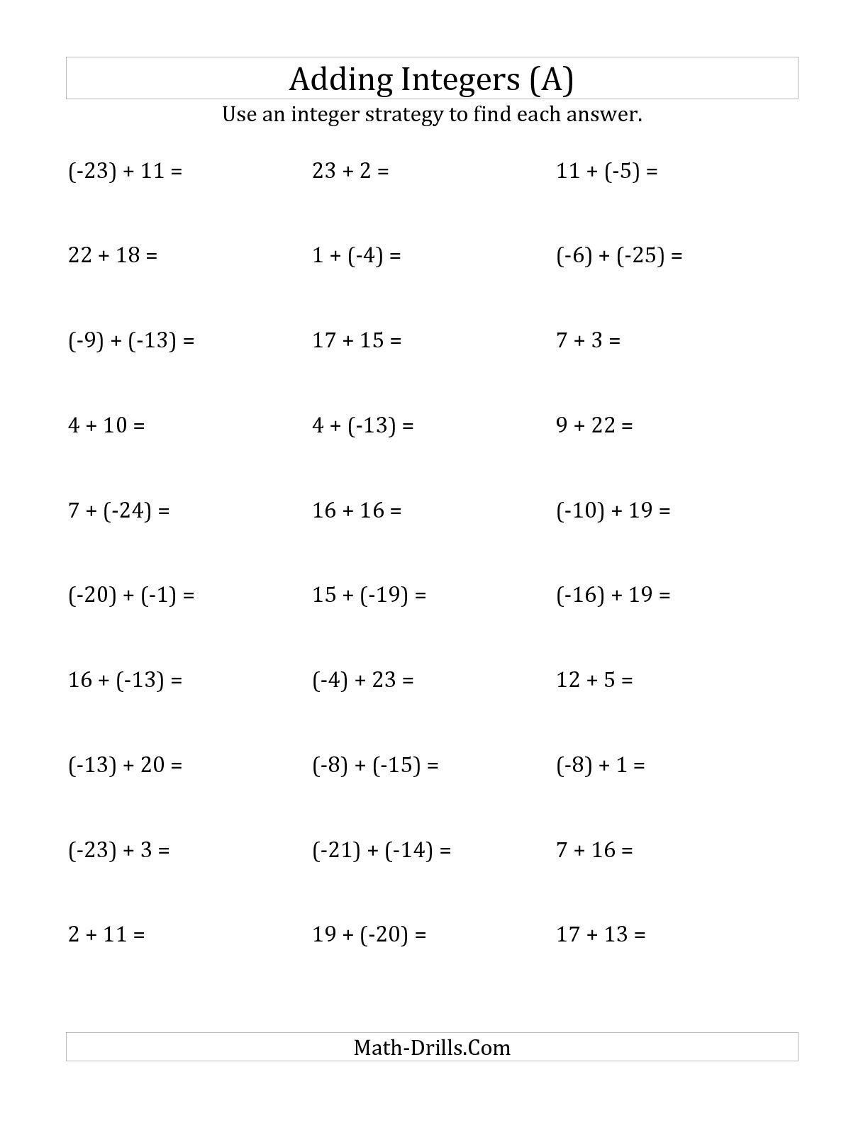 Multiplying Negative Numbers Worksheet Integers Addition
