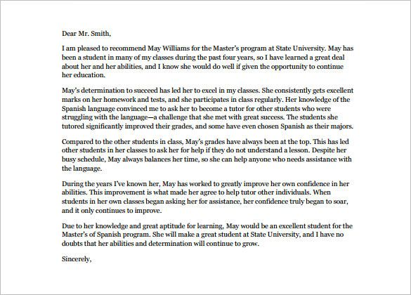 8+ Letters of Recommendation for Internship u2013 Free Sample, Example - letters of recommendation for student