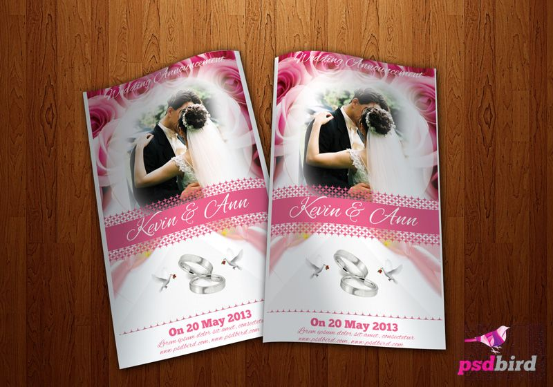 otro lindo Flyer invitación de bodas en PSD Lugares para visitar - wedding flyer