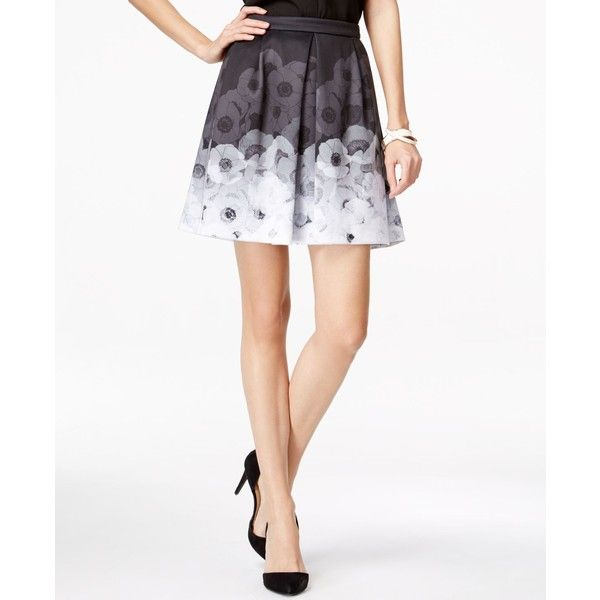 CeCe by Cynthia Steffe Floral-Print Flare Skirt ($89) ❤ liked on Polyvore featuring skirts, rich black, floral skater skirt, floral knee length skirt, floral print skater skirt, black skirt and floral print skirt