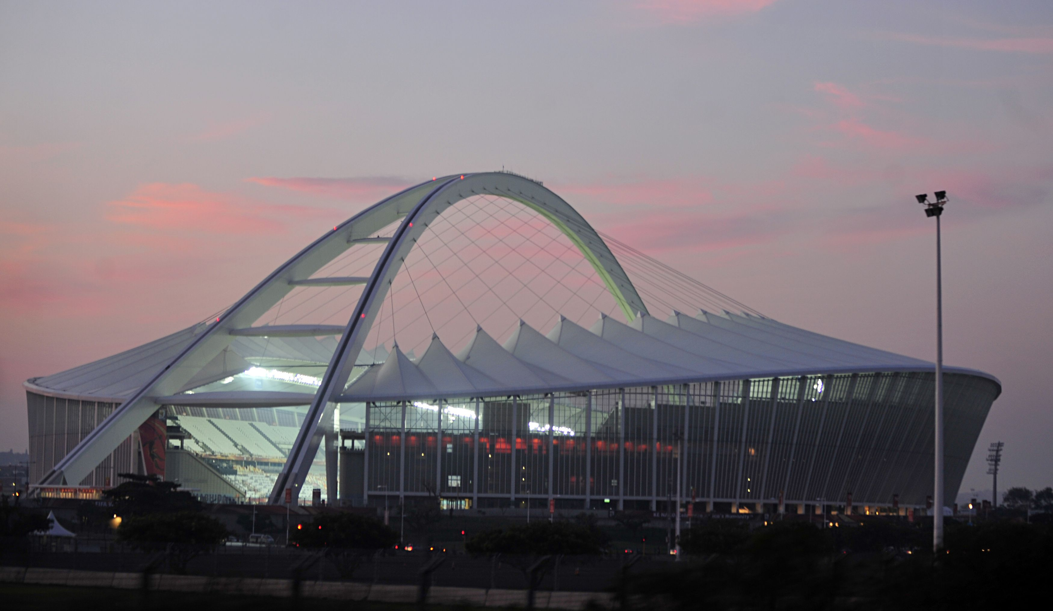 The Moses Mabhida Stadium is a stadium in Durban, South Africa, named after Moses Mabhida, a former General Secretary of the South African Communist Party. It is a multi-use stadium. It was one of the host stadiums for the 2010 FIFA World Cup. The stadium has a capacity of 62,760, during the World Cup and 54,000 afterwards.