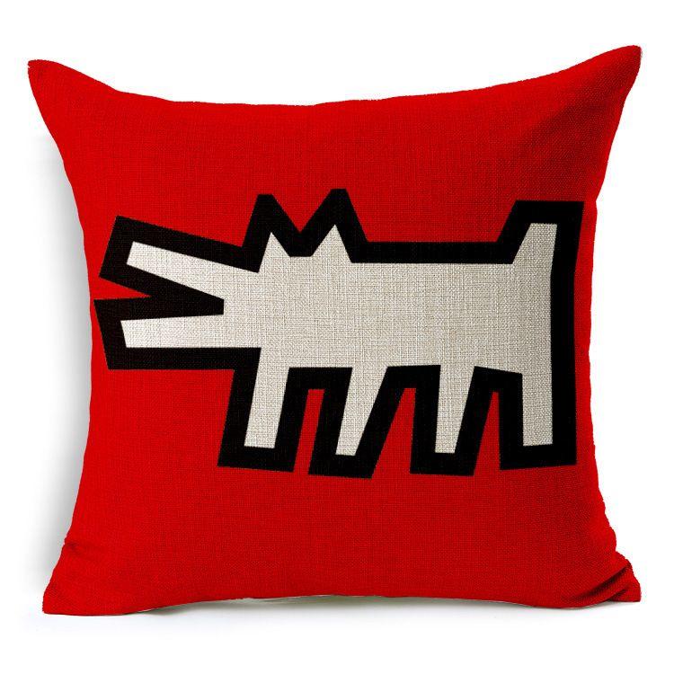 Cushion cover artist Keith Haring famous modern ideas pillow case creative Figure love cushions linen cotton