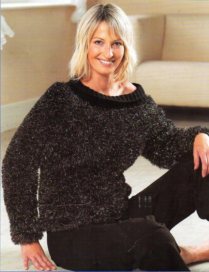 Womens Sweater Knitting Pattern Pdf Ladies Furry Jumper Eyelash Yarn