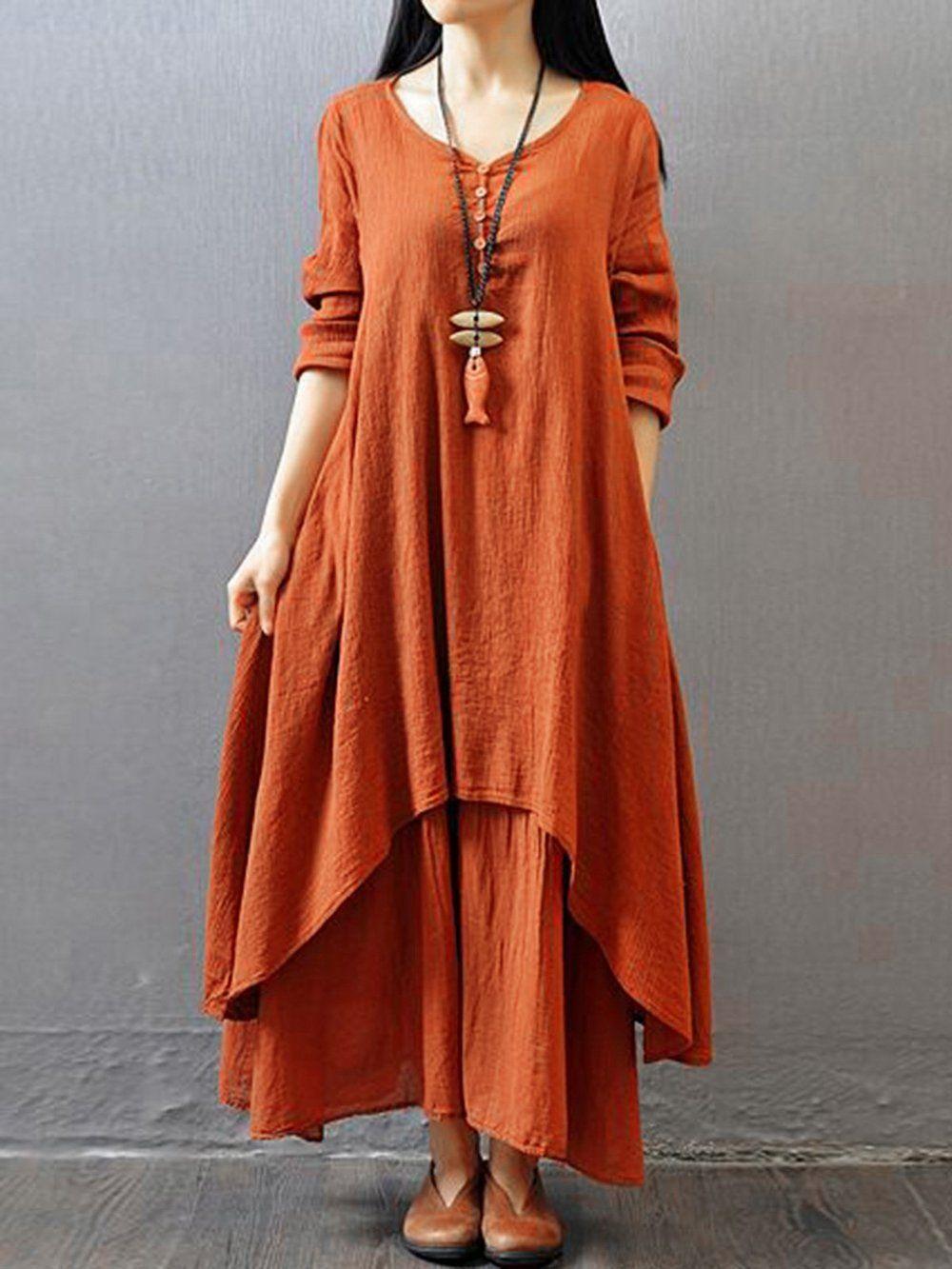 Plus Size Women Asymmetrical Daily 3 4 Sleeve Casual Asymmetric Solid Dress Linen Maxi Dress Maxi Dress With Sleeves Maxi Dress [ 1333 x 1000 Pixel ]