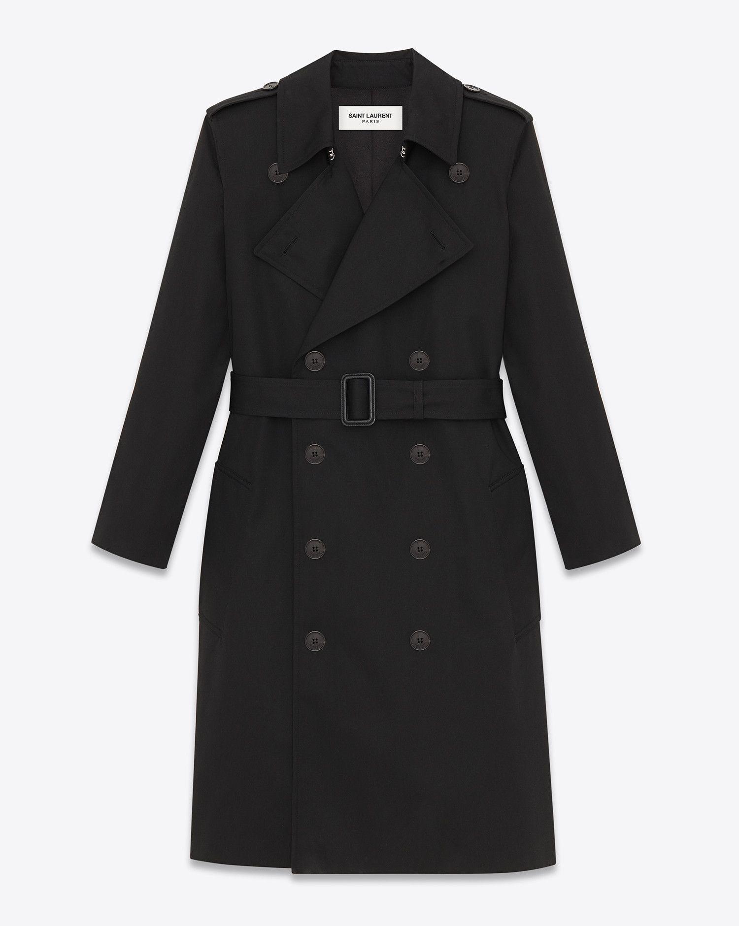 87514e97cf Saint Laurent CLASSIC TRENCH COAT IN BLACK TECHNICAL GABARDINE   ysl ...