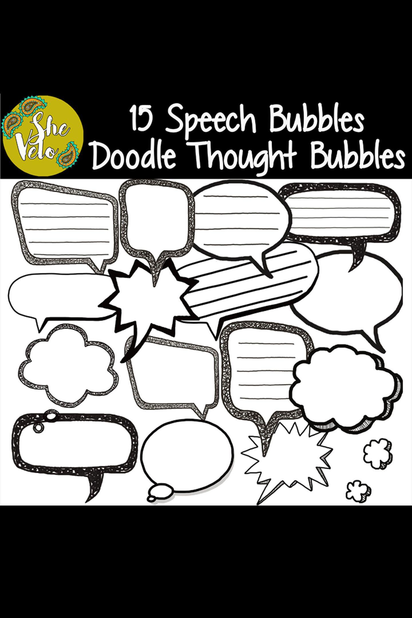 15 Doodle Speech Bubbles Amp Thought Bubbles