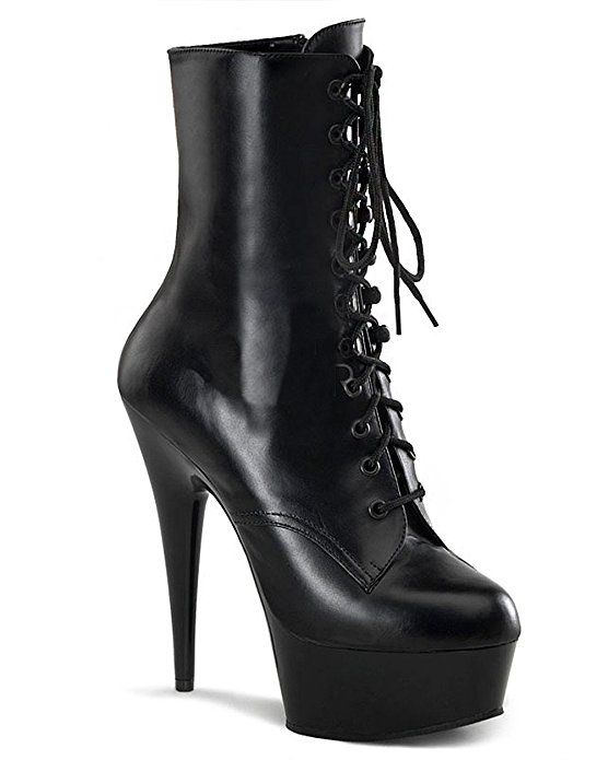 a0a089bfe97 Pleaser Delight 1018 Black PU NEW In box sizes US womens high heel boots