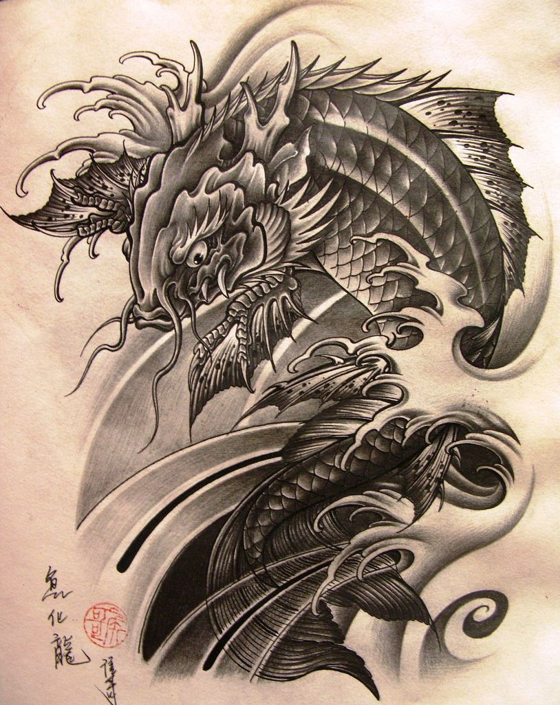 Pin By Ngohaihung On Unique Paintings Koi Dragon Tattoo Koi Tattoo Design Dragon Koi Tattoo Design