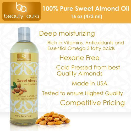 Beauty Aura 100 % Pure Sweet Almond oil. Cold pressed from Best Quality Almond kernels. 16 ounce Beauty Aura,http://www.amazon.com/dp/B00FIU49UO/ref=cm_sw_r_pi_dp_udSptb0NE5TFN632