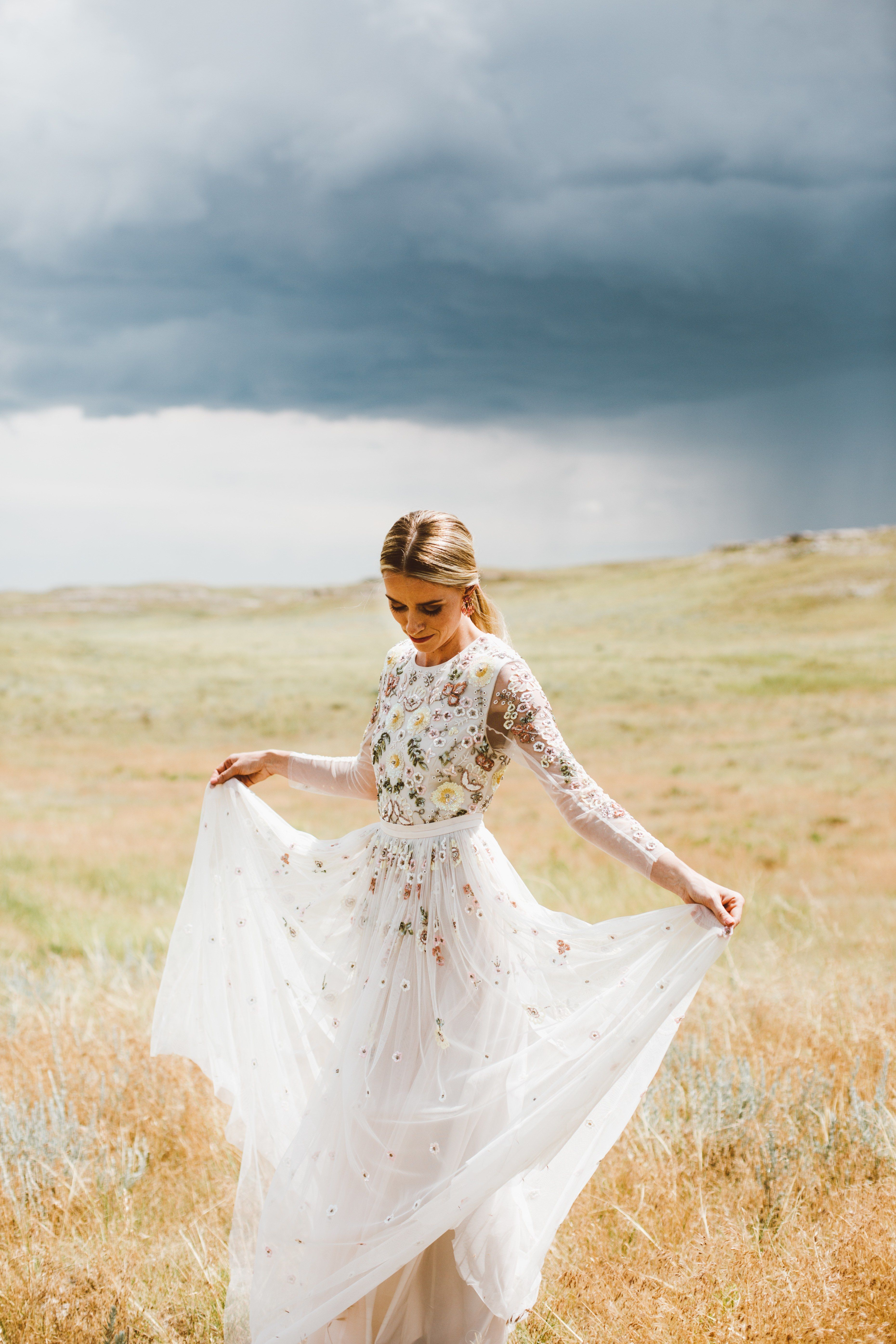 A Western Inspired Ranch Wedding On The Wyoming Plains Embroidered Wedding Dress Wedding Dresses Wedding Dresses Beaded