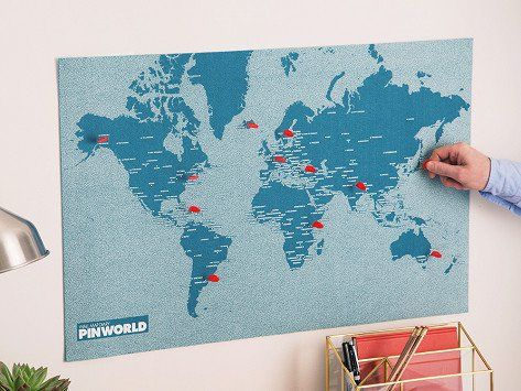 Trace your travels on this unconventional pinnable felt map explore globe and world maps and more gumiabroncs Gallery