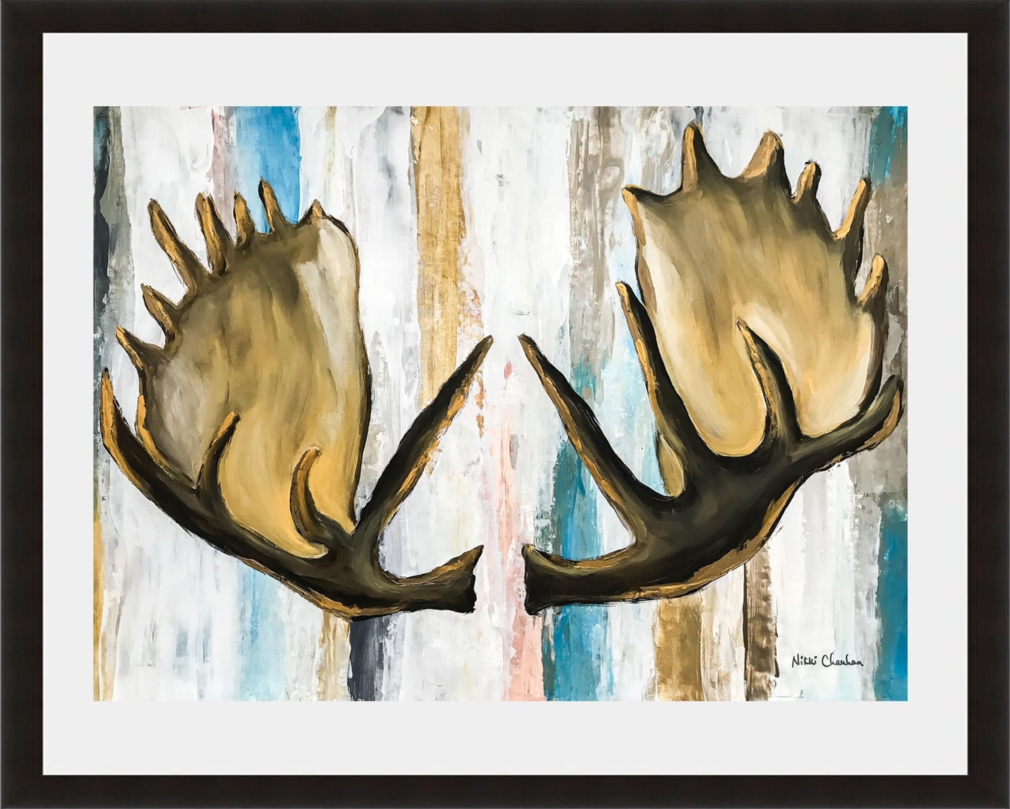 moose antler painting woodland animals acrylic painting on paper