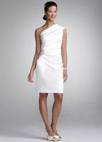 Satin Draped One Shoulder Short Gown With Pearl Embellishment At Side Drape Fully Line With Images Civil Wedding Dresses Davids Bridal Wedding Dresses Davids Bridal Gowns