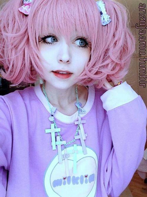 Anzujaamu Cosplay Girl Pink Hair Beautiful Eyes Fluffy Cute
