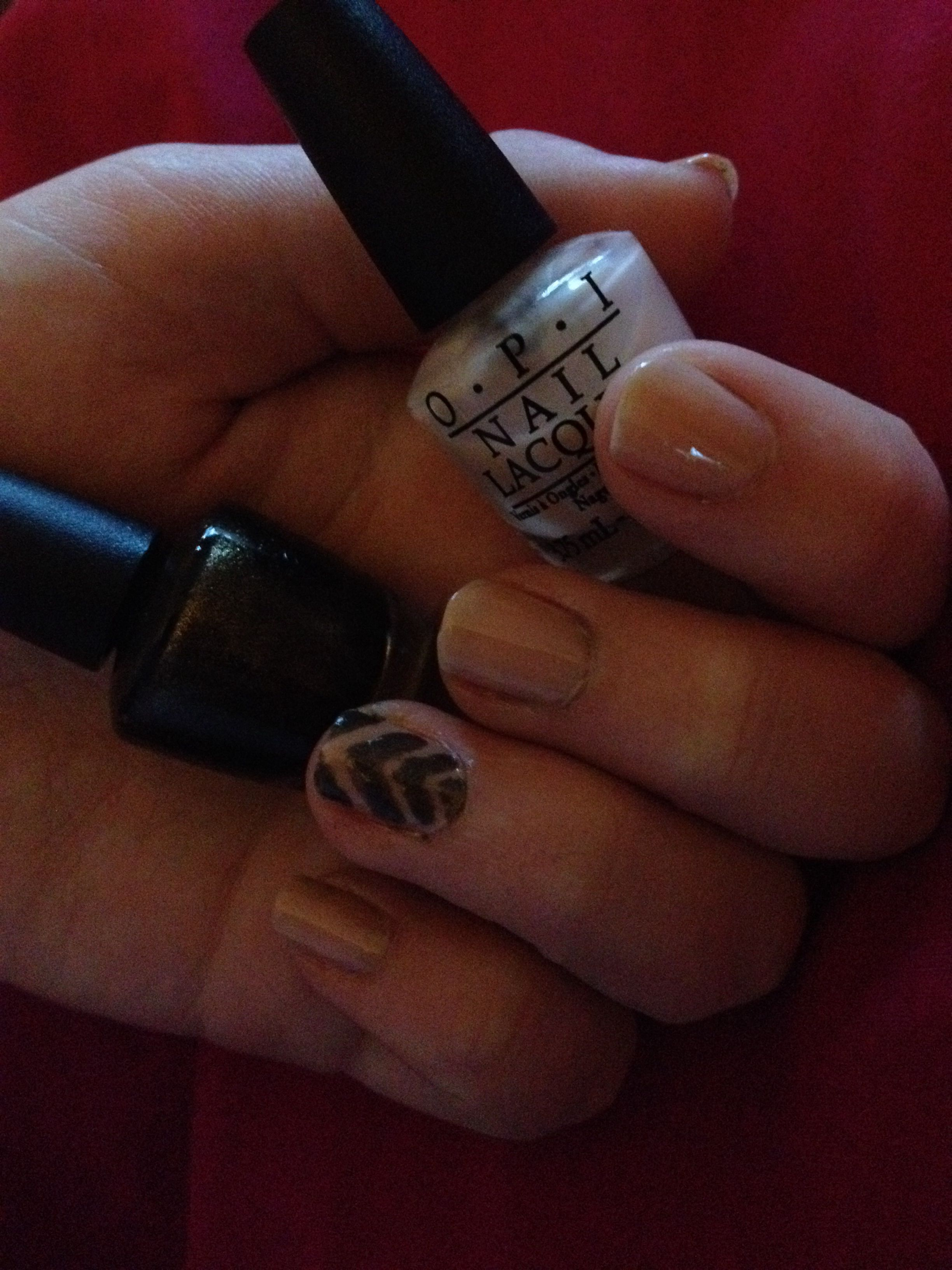 Opi nail lacquer nude and chevron nails DIY