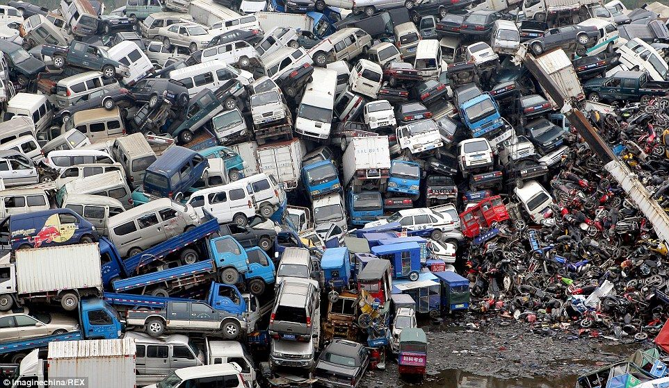 China\'s car graveyard: Millions of vehicles thrown on the scrap heap ...