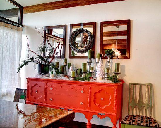 Buffet Table Decorating Ideas For Your Dining Room Midcentury With Orange