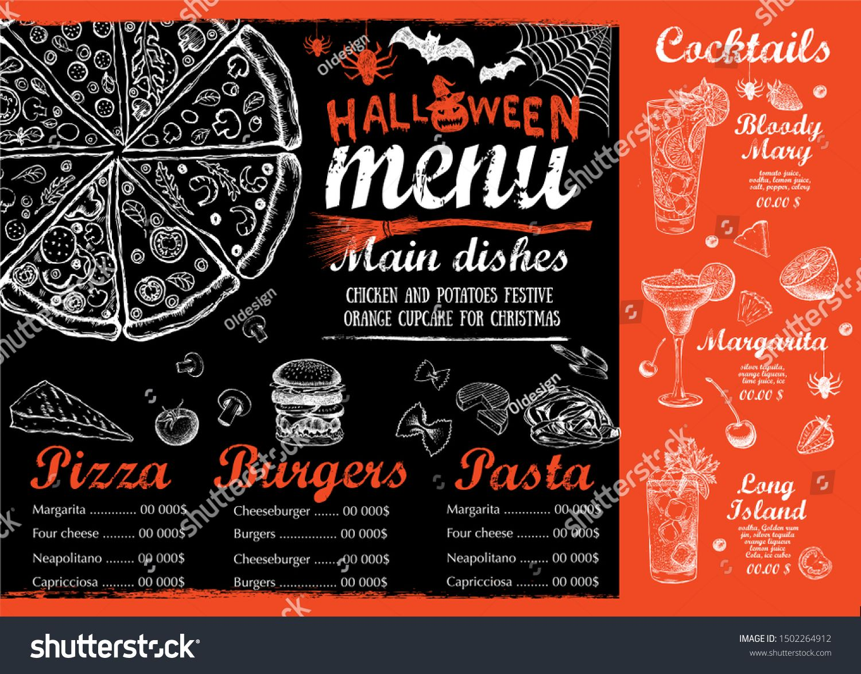 Halloween Menu Restaurant Cafe Menu Template Design Food Flyer Sponsored Spon Restaurant Cafe Halloween Menu In 2020 Halloween Menu Cafe Menu Menu Restaurant