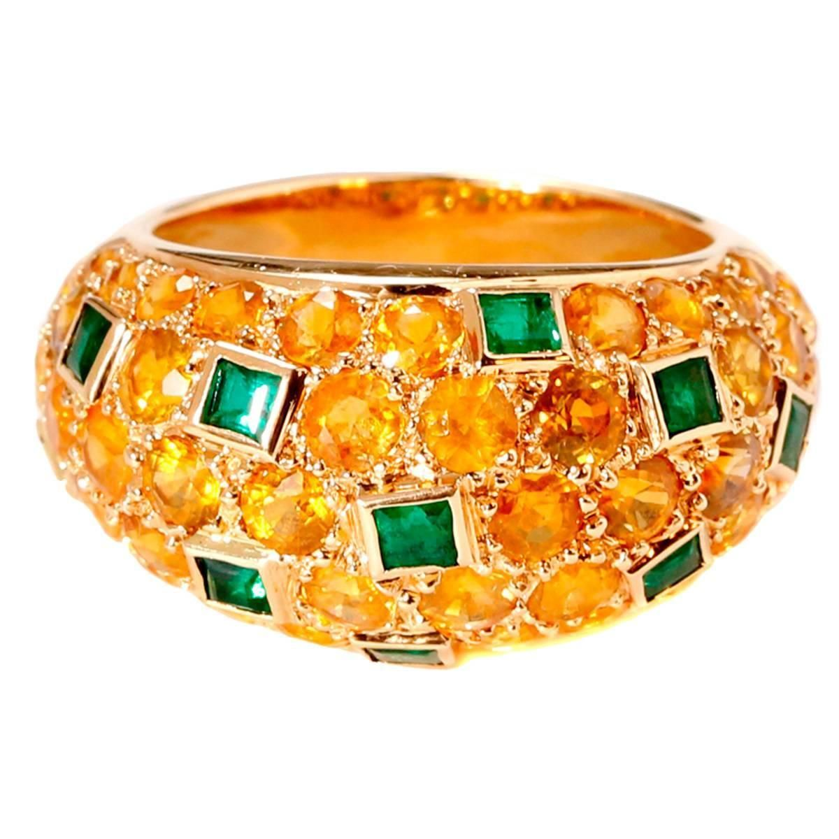 Van cleef u arpels yellow sapphire emerald gold bombe ring van