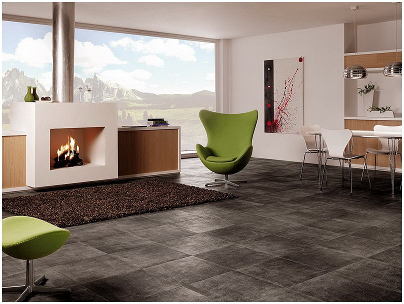 Living room with grey ceramic tile. Love the grey tile look with ...