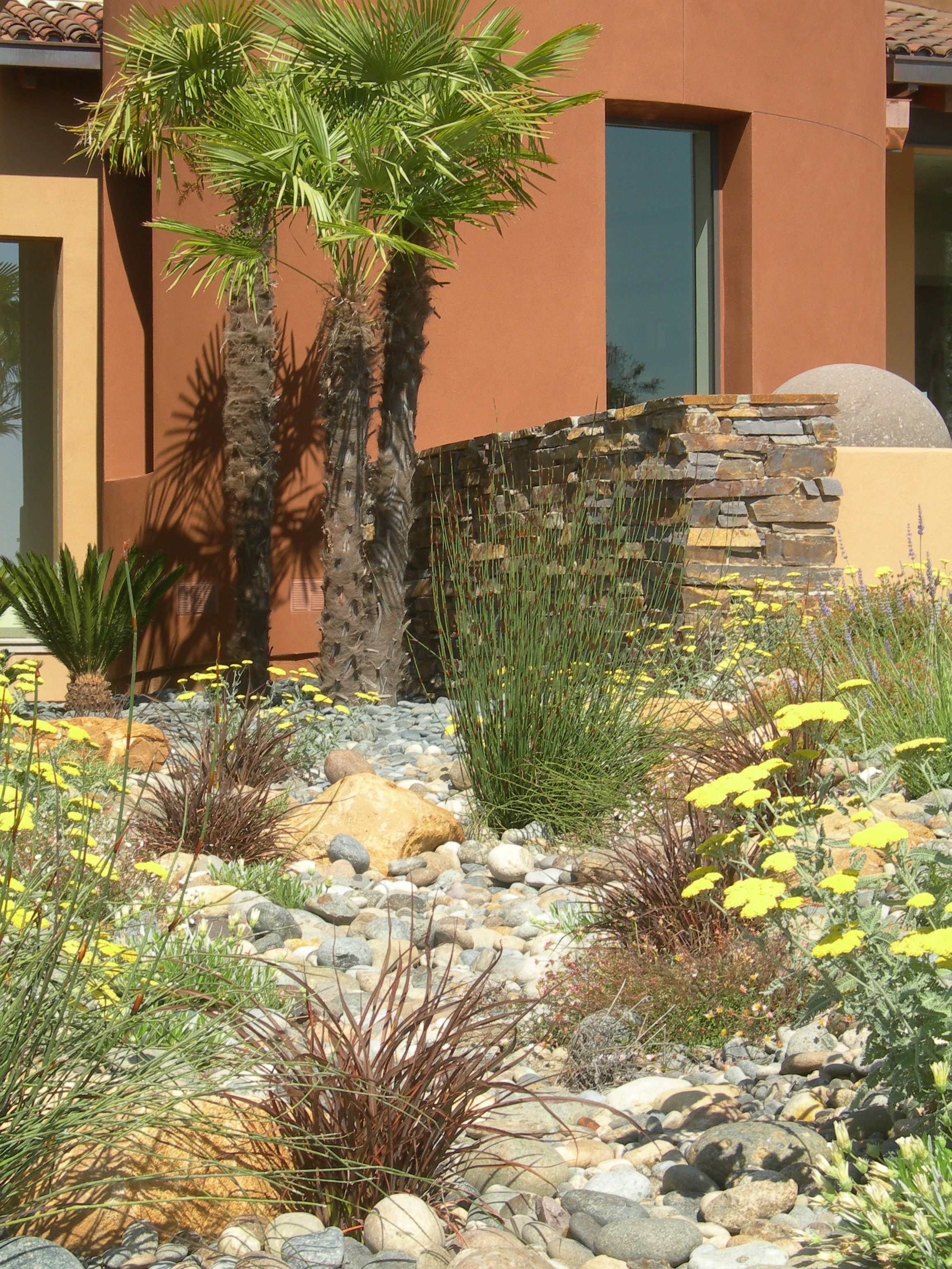 Providing drainage and water regeneration with a dry creek and bio ...