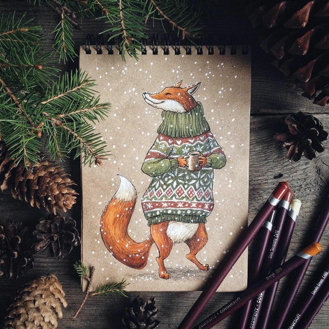 открытка цветными карандашами на новый год того, чтобы