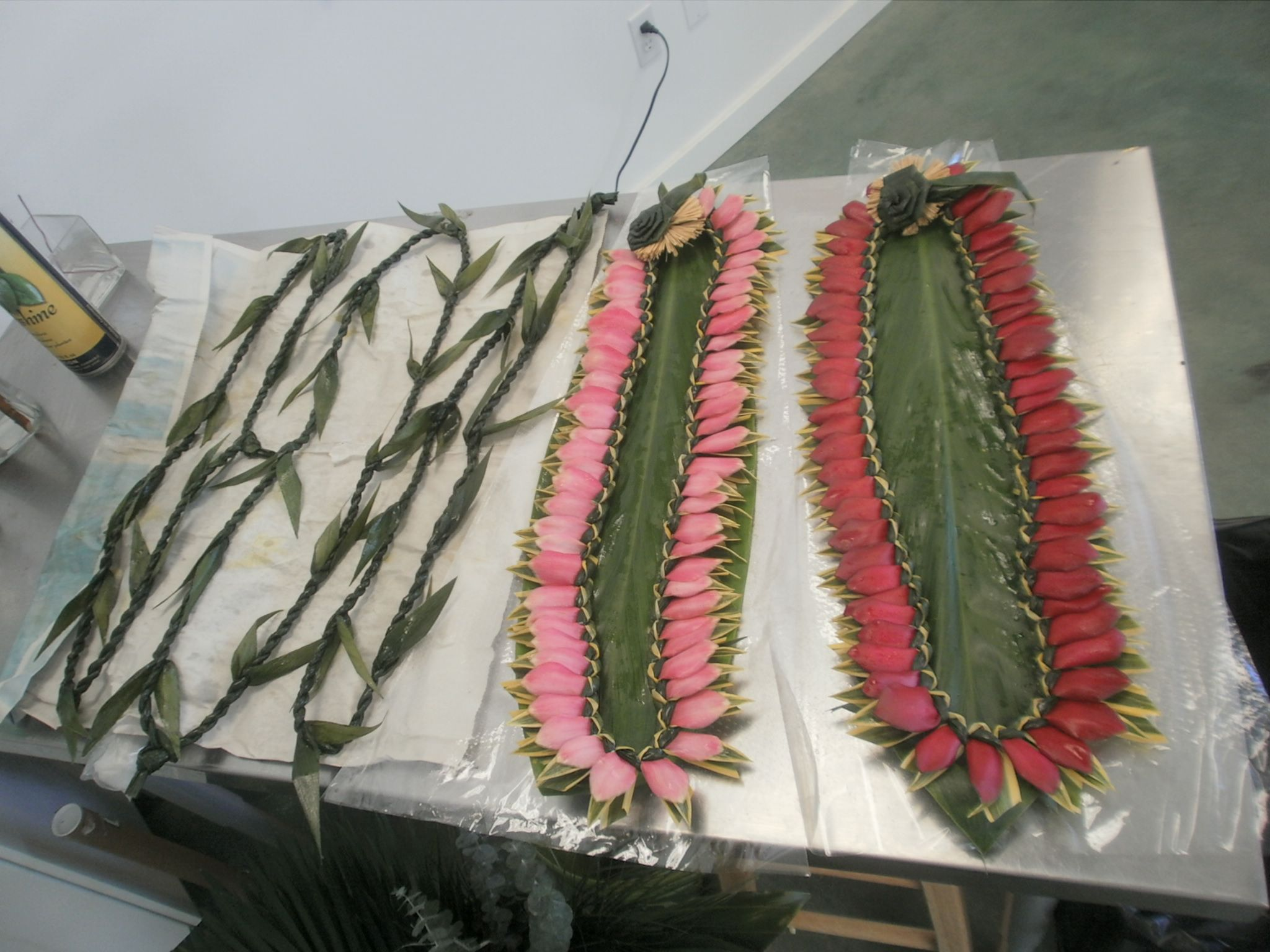 """Traditional men's ti leaf leis and """"Song of India"""" ginger leis (shipped in and made with Aloha from Hawaii)"""