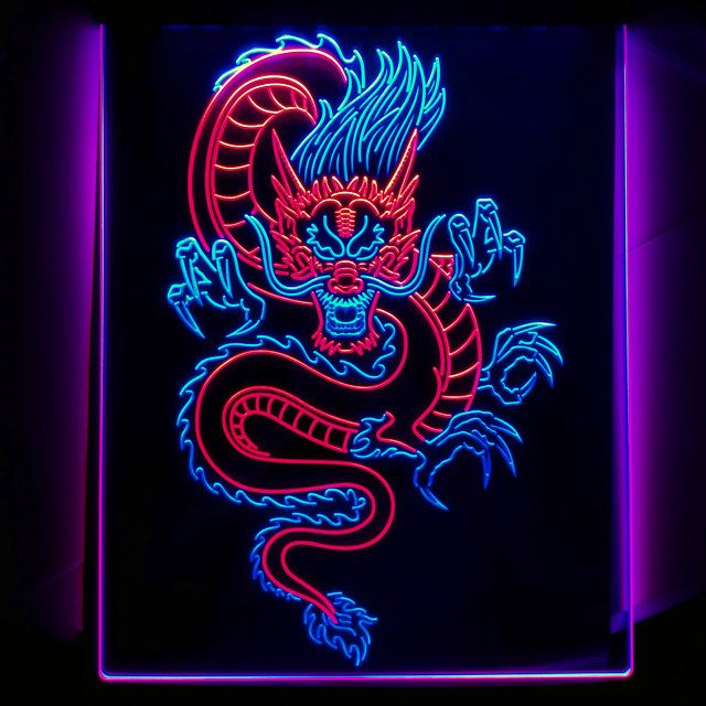 Chinese Dragon Room Display Dual Color LED Neon Si