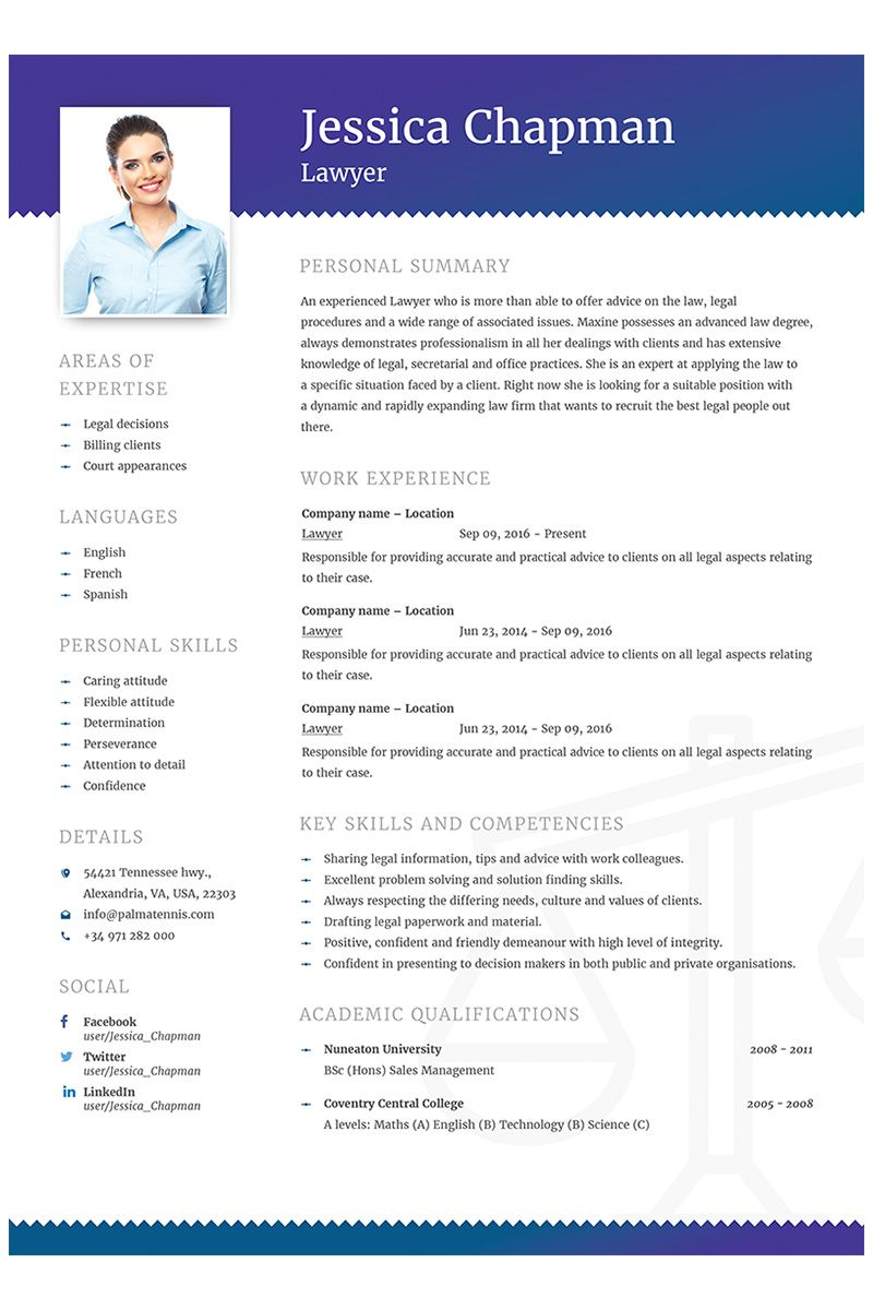 Jessica Chapman Lawyer CV Resume Template 64868 Cv