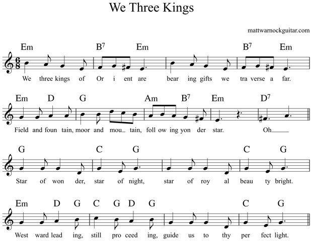 We Three Kings Guitar Chords 1 Music Pinterest Guitar Chords