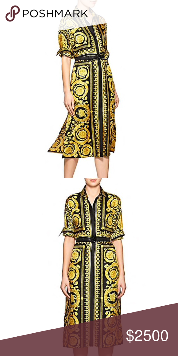 013fb36f55 Coming soon Versace Baroque Silk Belted Shirtdress Versace s silk twill  shirtdress features a black twill belt accented with a shiny black  signature Medusa ...