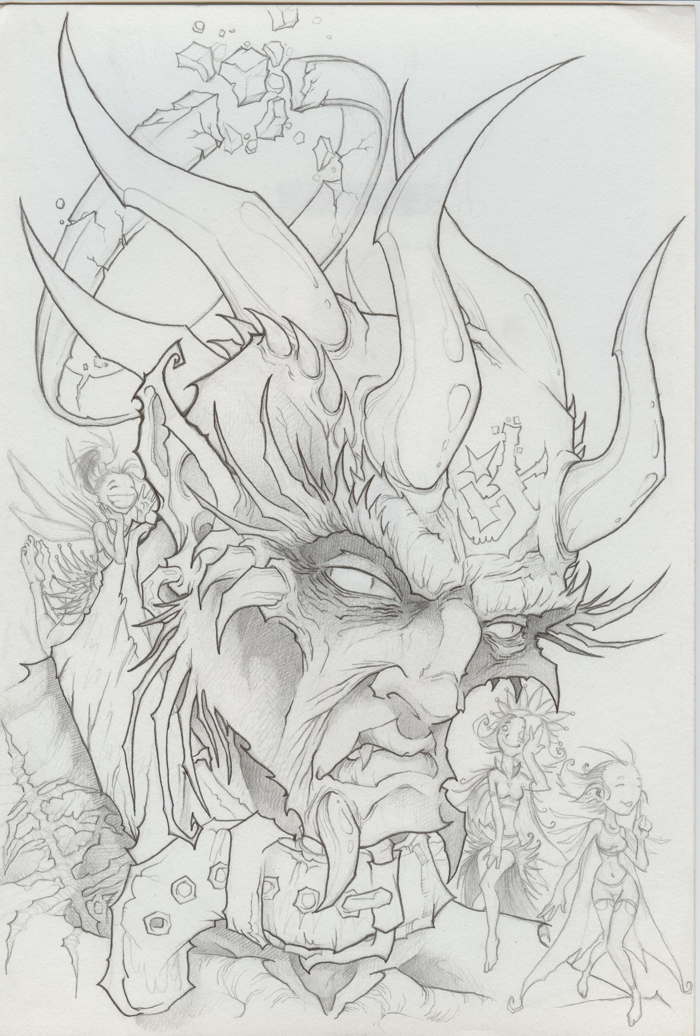 Демоны картинки карандашом, гравюра красиво