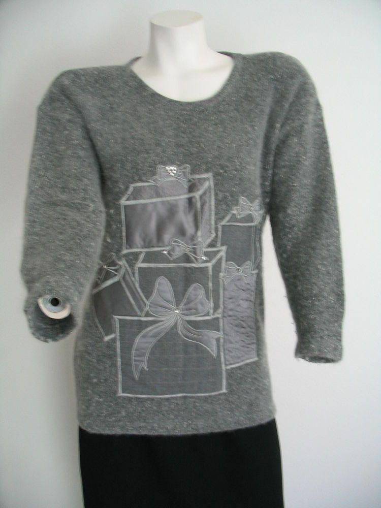 I. B. DIFFUSION Ugly Christmas Holidays Sweater Silk Angora Bling Gray Size  P  IBDiffusion  Pullover 36d31dbfa