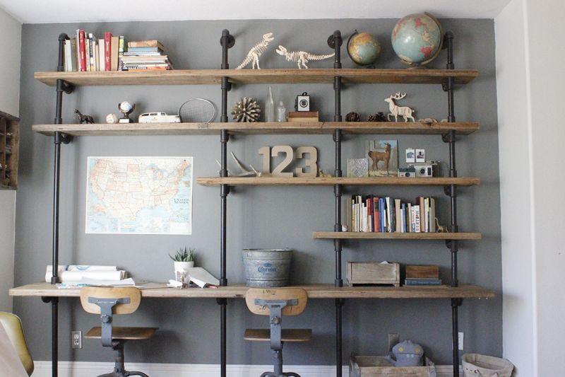 Pipe And Wood Bookshelf Desk