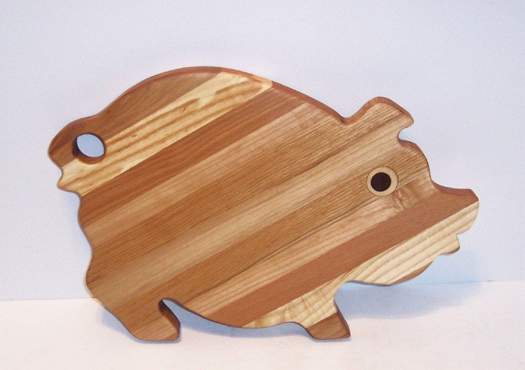 Fancy PIG Cutting Board Handcrafted from Mixed Hardwoods by tomroche on Etsy