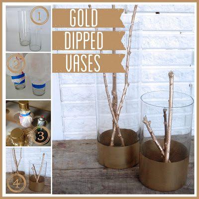 Gold Dipped vases.  Bright Green Door via houseofhepworths.com