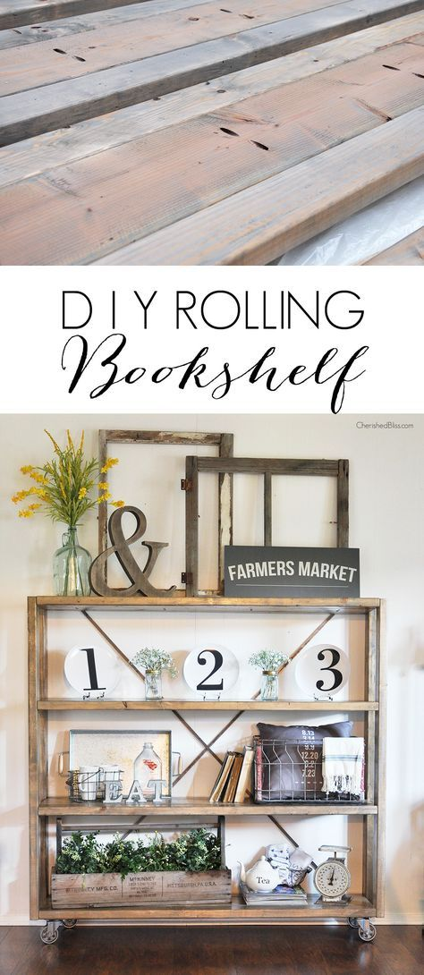 Rolling DIY Bookshelf | Restoration Hardware Knockoff