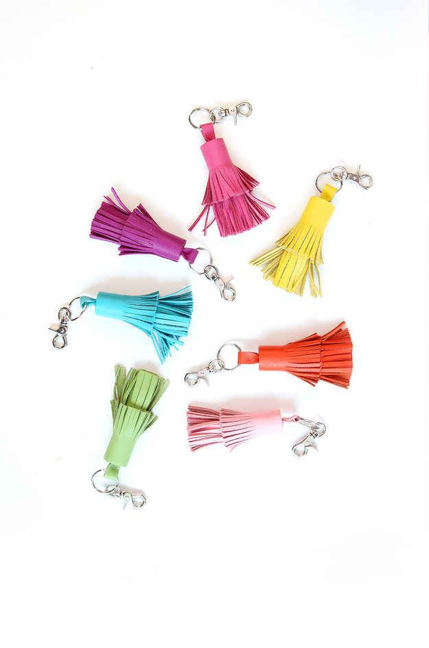 Or use leather to make tassel keychains.