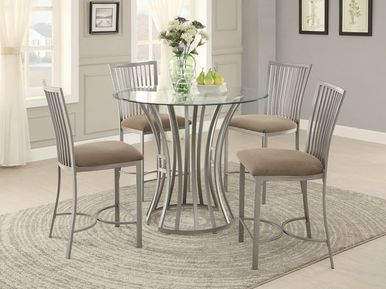 Shop Now The Sodus Glass Counter Height Set Featuring Round Glass Top An Counter Height Dining Room Tables Pub Table And Chairs Counter Height Dining Table Set